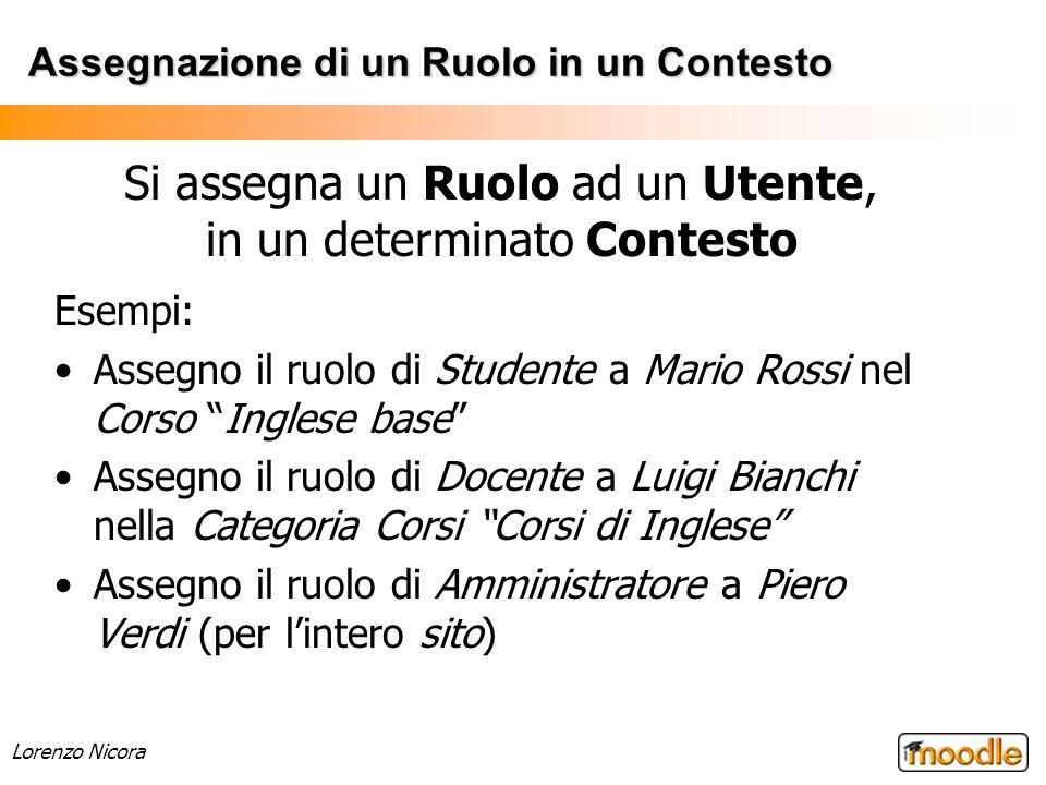 Lorenzo Nicora Assegnazione di un Ruolo in un Contesto Esempi: Assegno il ruolo di Studente a Mario Rossi nel Corso Inglese base Assegno il ruolo di D