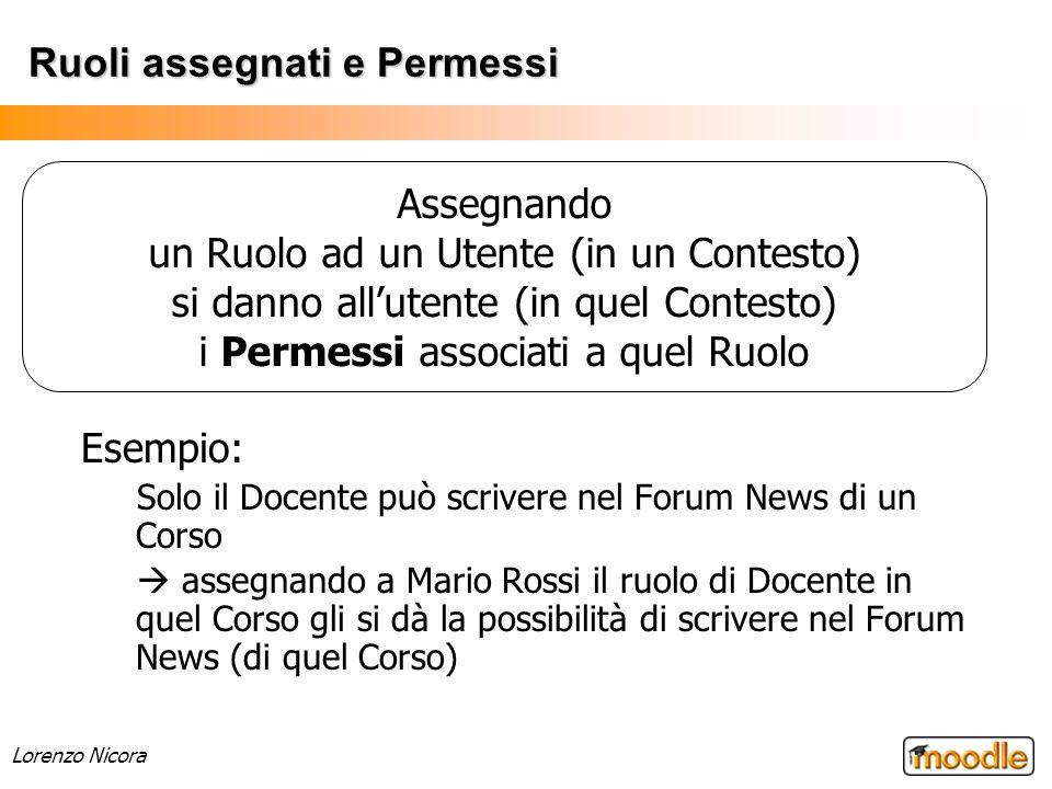Lorenzo Nicora Ruoli assegnati e Permessi Esempio: Solo il Docente può scrivere nel Forum News di un Corso assegnando a Mario Rossi il ruolo di Docent