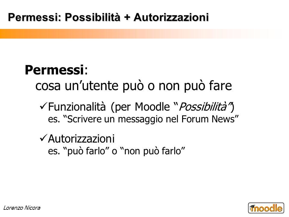 Lorenzo Nicora Permessi: Possibilità + Autorizzazioni Permessi: cosa unutente può o non può fare Funzionalità (per Moodle Possibilità) es. Scrivere un
