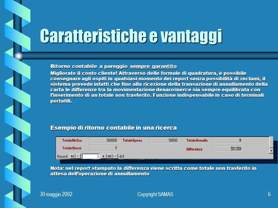 30 maggio 2002Copyright SAMAS6 Caratteristiche e vantaggi Ritorno contabile a pareggio sempre garantito Migliorato il conto cliente.