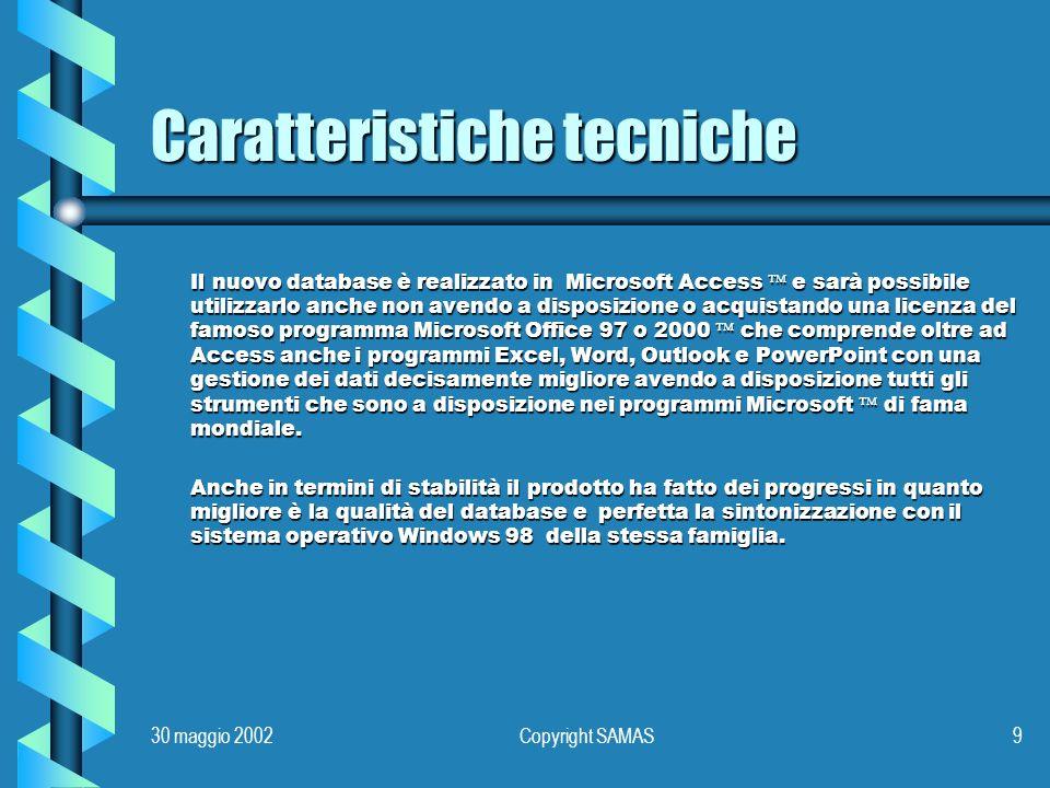 30 maggio 2002Copyright SAMAS10 Servizi per i clienti Lofferta per i clienti SAMAS con versioni precedenti è valida 30 gg.