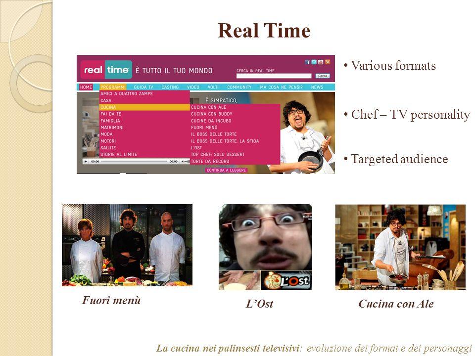 Real Time La cucina nei palinsesti televisivi: evoluzione dei format e dei personaggi Various formats Chef – TV personality Targeted audience Fuori menù LOstCucina con Ale