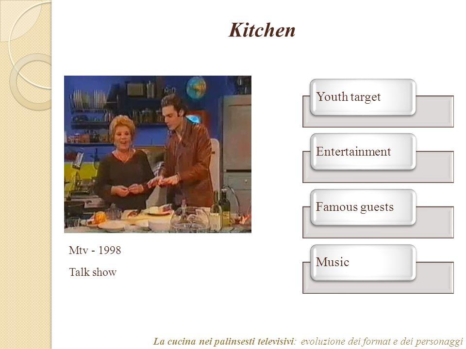 Kitchen La cucina nei palinsesti televisivi: evoluzione dei format e dei personaggi Mtv - 1998 Talk show Youth targetEntertainmentFamous guestsMusic