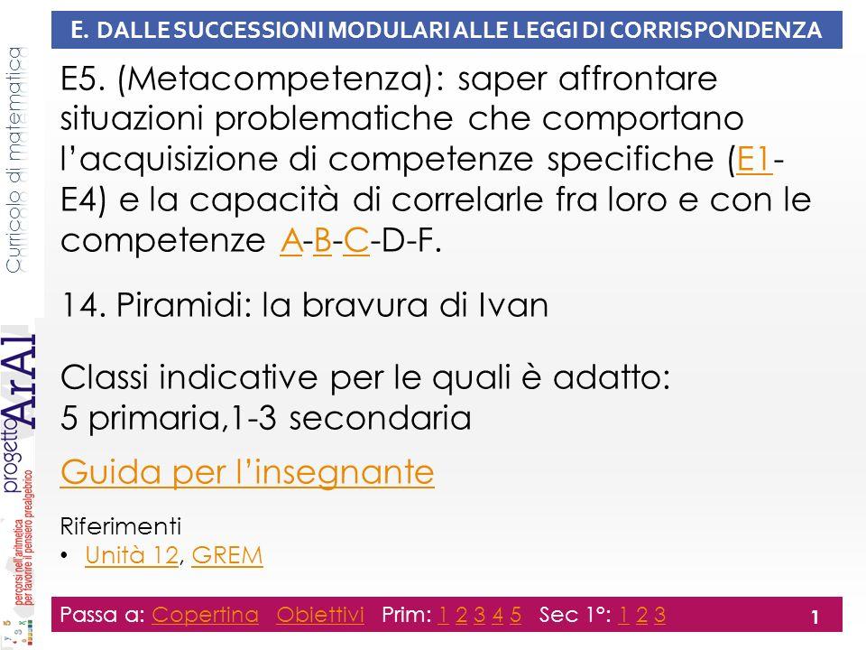 E. DALLE SUCCESSIONI MODULARI ALLE LEGGI DI CORRISPONDENZA E5.