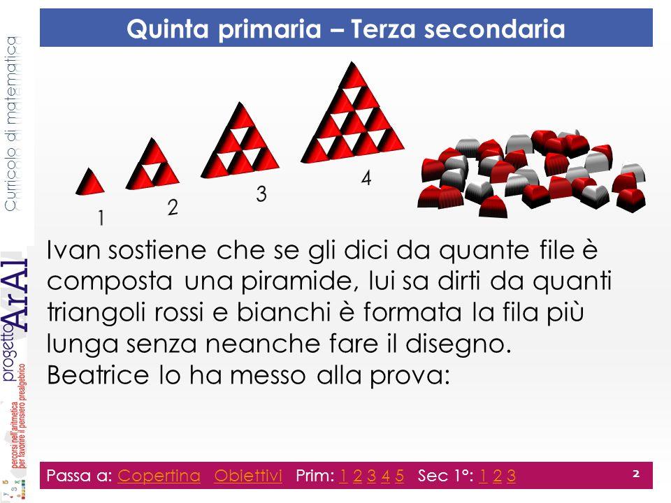 Ivan sostiene che se gli dici da quante file è composta una piramide, lui sa dirti da quanti triangoli rossi e bianchi è formata la fila più lunga senza neanche fare il disegno.