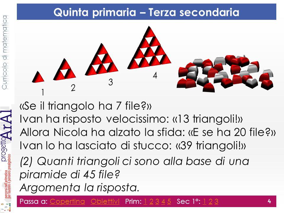 «Se il triangolo ha 7 file?» Ivan ha risposto velocissimo: «13 triangoli!» Allora Nicola ha alzato la sfida: «E se ha 20 file?» Ivan lo ha lasciato di stucco: «39 triangoli!» (2) Quanti triangoli ci sono alla base di una piramide di 45 file.