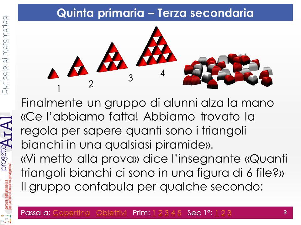 Finalmente un gruppo di alunni alza la mano «Ce labbiamo fatta! Abbiamo trovato la regola per sapere quanti sono i triangoli bianchi in una qualsiasi