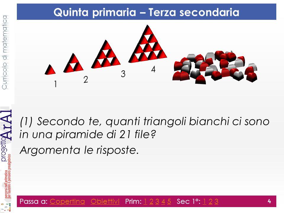(1) Secondo te, quanti triangoli bianchi ci sono in una piramide di 21 file? Argomenta le risposte. Passa a: Copertina Obiettivi Prim: 1 2 3 4 5 Sec 1