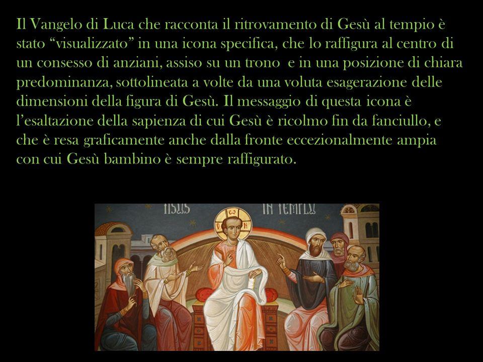 Il Vangelo di Luca che racconta il ritrovamento di Gesù al tempio è stato visualizzato in una icona specifica, che lo raffigura al centro di un conses