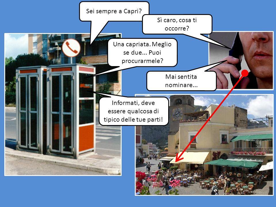 Sei sempre a Capri.Sì caro, cosa ti occorre. Una capriata.