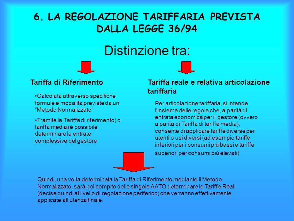 6. LA REGOLAZIONE TARIFFARIA PREVISTA DALLA LEGGE 36/94 Distinzione tra: Tariffa di RiferimentoTariffa reale e relativa articolazione tariffaria Calco