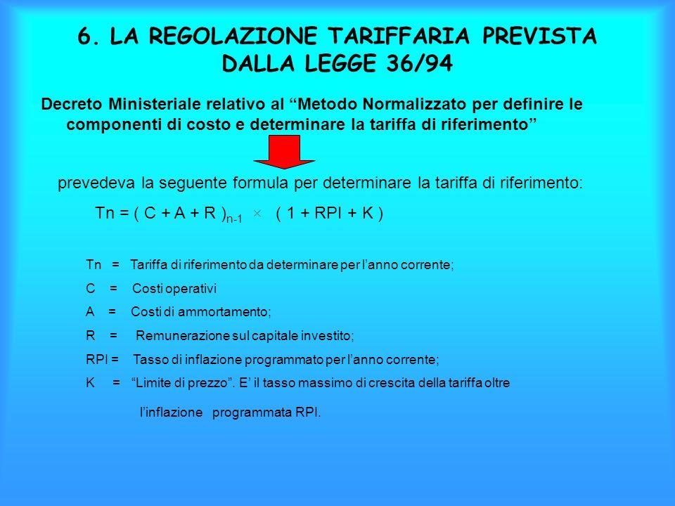 6. LA REGOLAZIONE TARIFFARIA PREVISTA DALLA LEGGE 36/94 Decreto Ministeriale relativo al Metodo Normalizzato per definire le componenti di costo e det
