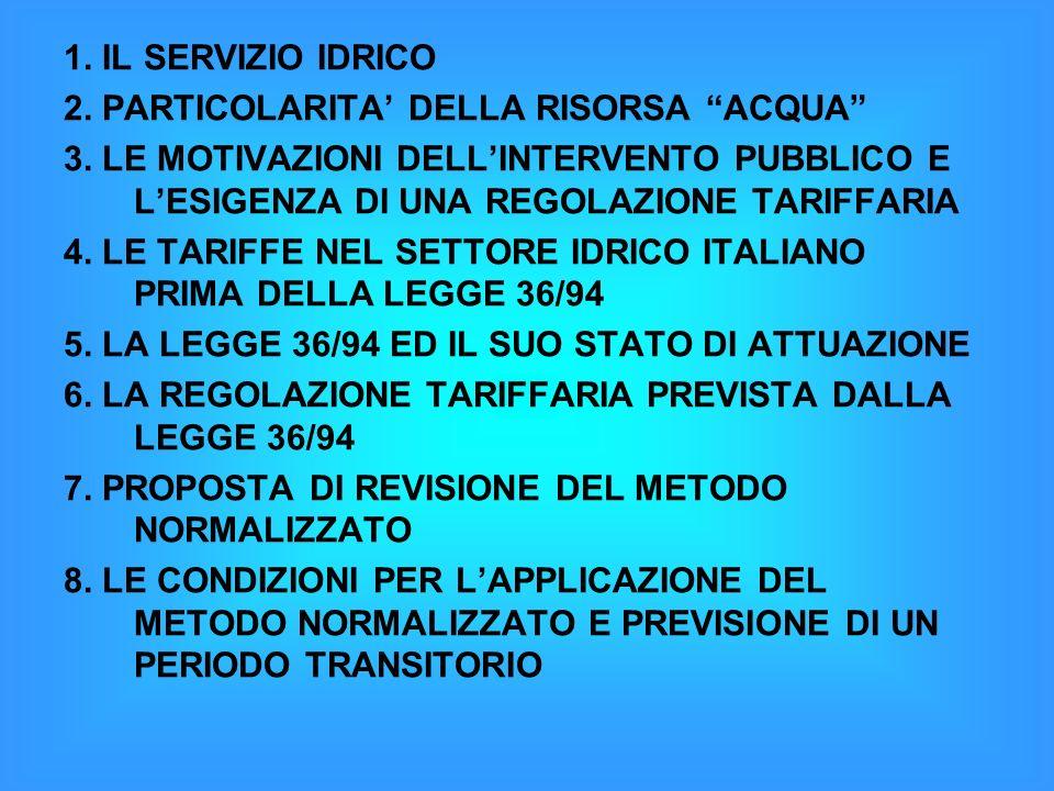 1.IL SERVIZIO IDRICO 2. PARTICOLARITA DELLA RISORSA ACQUA 3.
