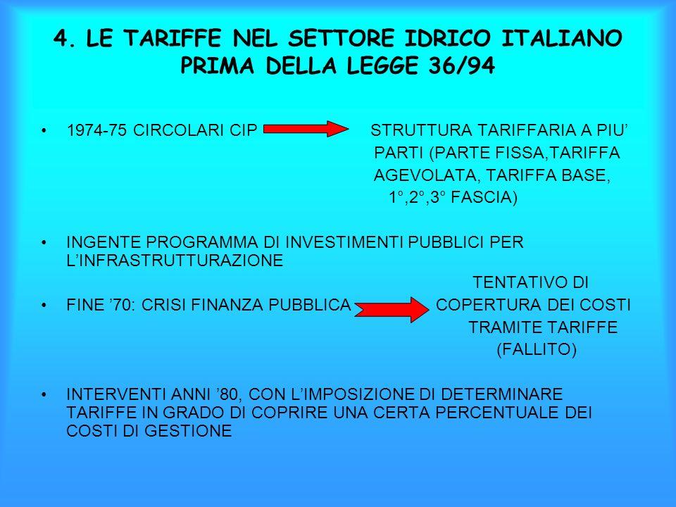 4. LE TARIFFE NEL SETTORE IDRICO ITALIANO PRIMA DELLA LEGGE 36/94 1974-75 CIRCOLARI CIP STRUTTURA TARIFFARIA A PIU PARTI (PARTE FISSA,TARIFFA AGEVOLAT