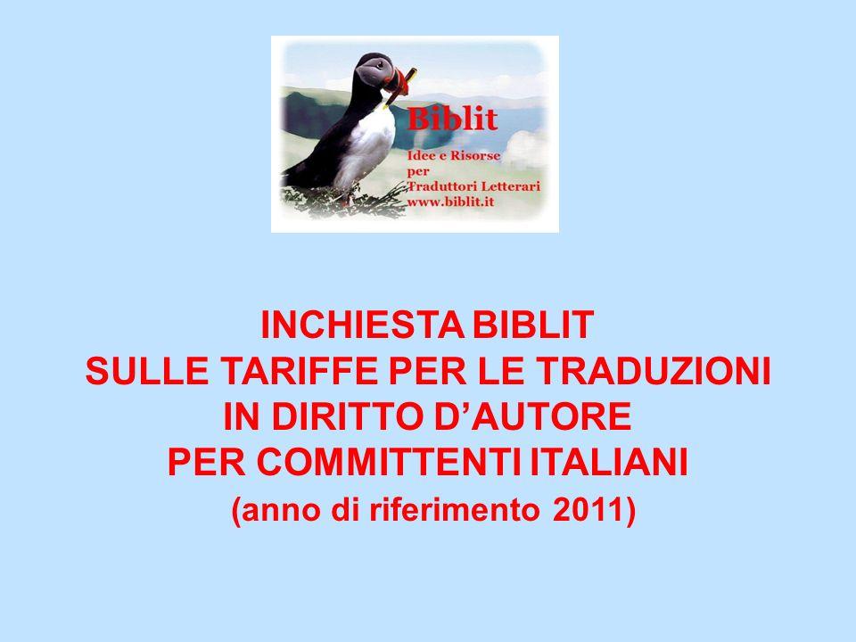 INCHIESTA DI BIBLIT SULLE TARIFFE PER LE TRADUZIONI IN DIRITTO DAUTORE 2011 PER COMMITTENTI ITALIANI Quali fattori influenzano le tariffe?