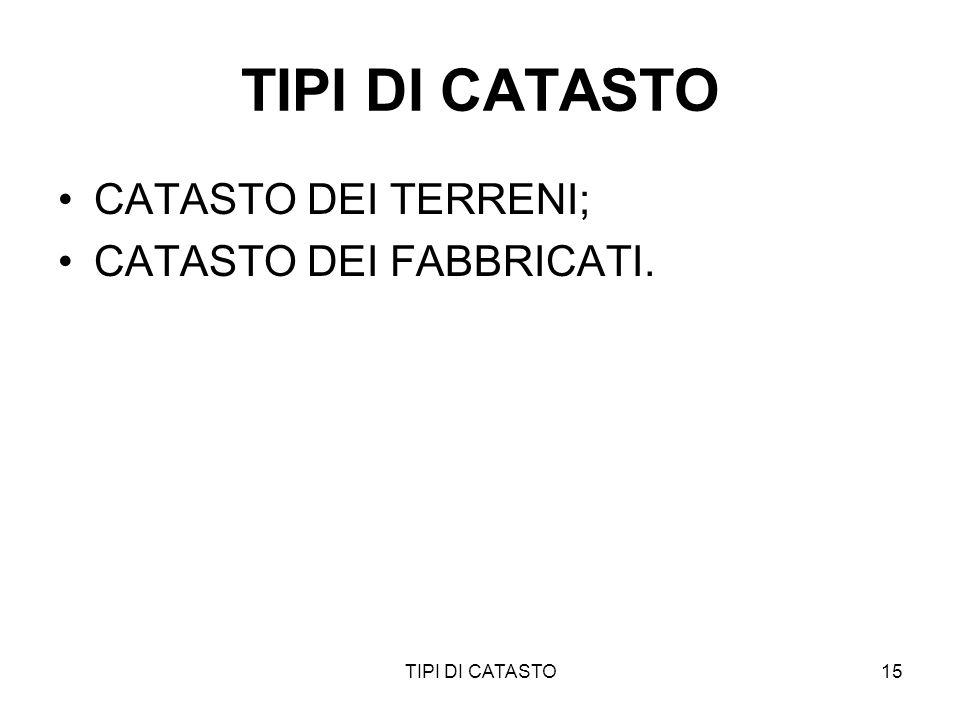 TIPI DI CATASTO15 TIPI DI CATASTO CATASTO DEI TERRENI; CATASTO DEI FABBRICATI.