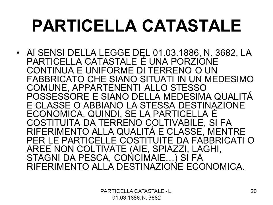 PARTICELLA CATASTALE - L. 01.03.1886, N. 3682 20 PARTICELLA CATASTALE AI SENSI DELLA LEGGE DEL 01.03.1886, N. 3682, LA PARTICELLA CATASTALE É UNA PORZ