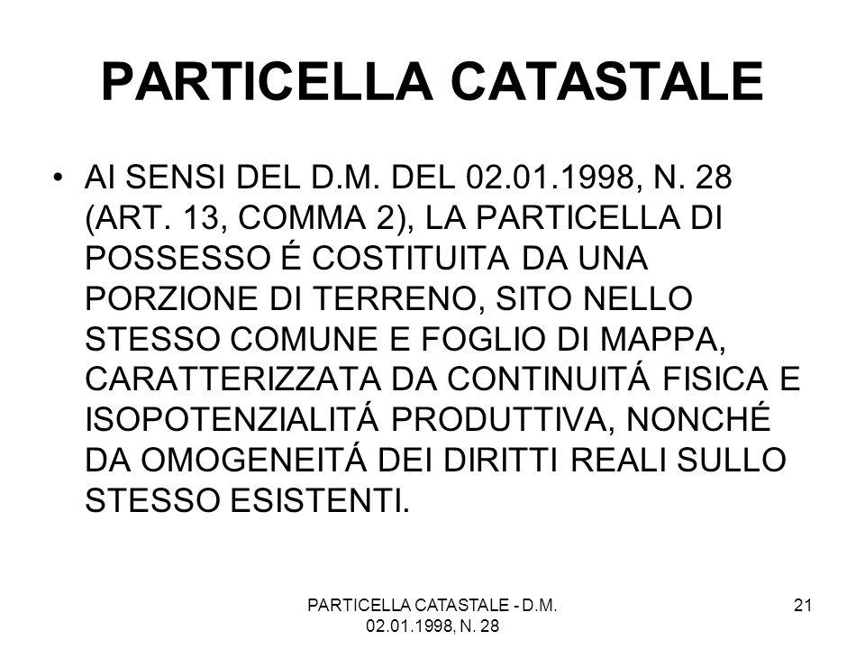 PARTICELLA CATASTALE - D.M. 02.01.1998, N. 28 21 PARTICELLA CATASTALE AI SENSI DEL D.M. DEL 02.01.1998, N. 28 (ART. 13, COMMA 2), LA PARTICELLA DI POS