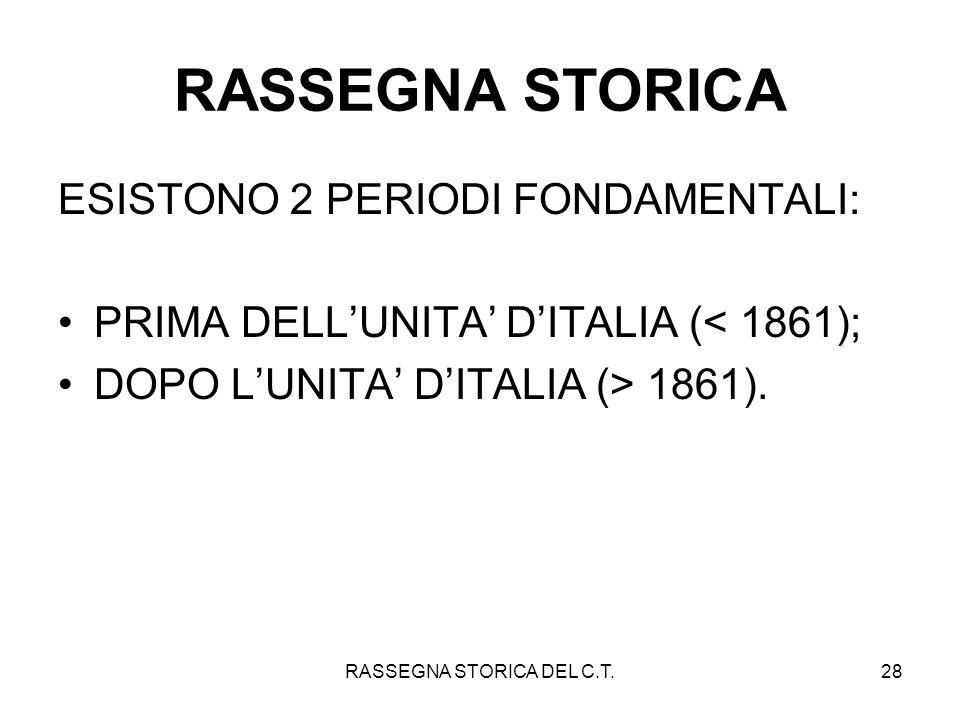 RASSEGNA STORICA DEL C.T.28 RASSEGNA STORICA ESISTONO 2 PERIODI FONDAMENTALI: PRIMA DELLUNITA DITALIA (< 1861); DOPO LUNITA DITALIA (> 1861).