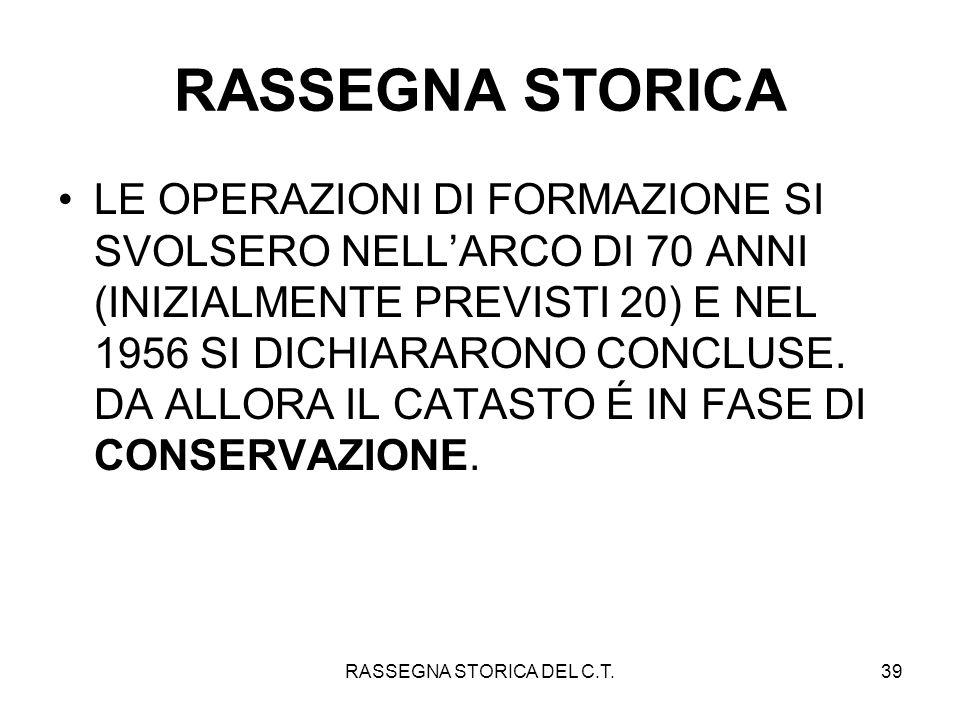 RASSEGNA STORICA DEL C.T.39 RASSEGNA STORICA LE OPERAZIONI DI FORMAZIONE SI SVOLSERO NELLARCO DI 70 ANNI (INIZIALMENTE PREVISTI 20) E NEL 1956 SI DICH