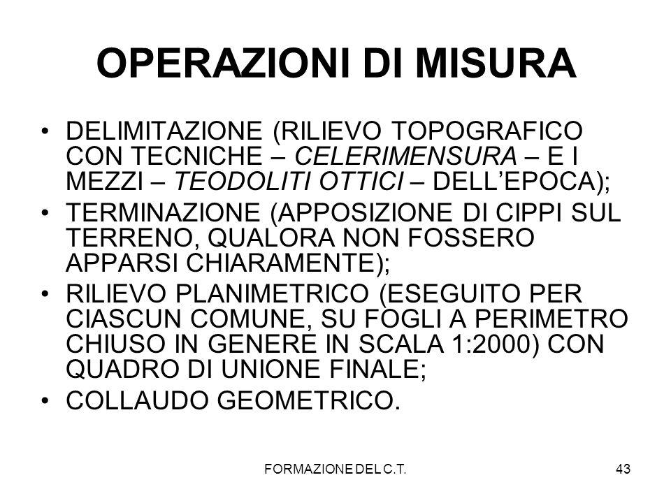 FORMAZIONE DEL C.T.43 OPERAZIONI DI MISURA DELIMITAZIONE (RILIEVO TOPOGRAFICO CON TECNICHE – CELERIMENSURA – E I MEZZI – TEODOLITI OTTICI – DELLEPOCA)