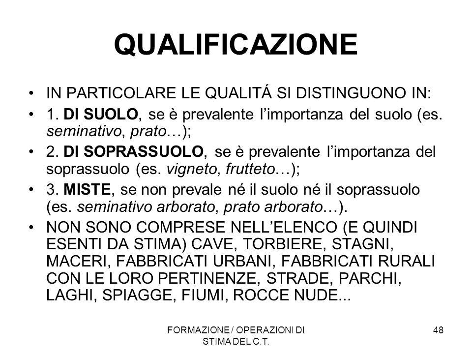 FORMAZIONE / OPERAZIONI DI STIMA DEL C.T. 48 QUALIFICAZIONE IN PARTICOLARE LE QUALITÁ SI DISTINGUONO IN: 1. DI SUOLO, se è prevalente limportanza del