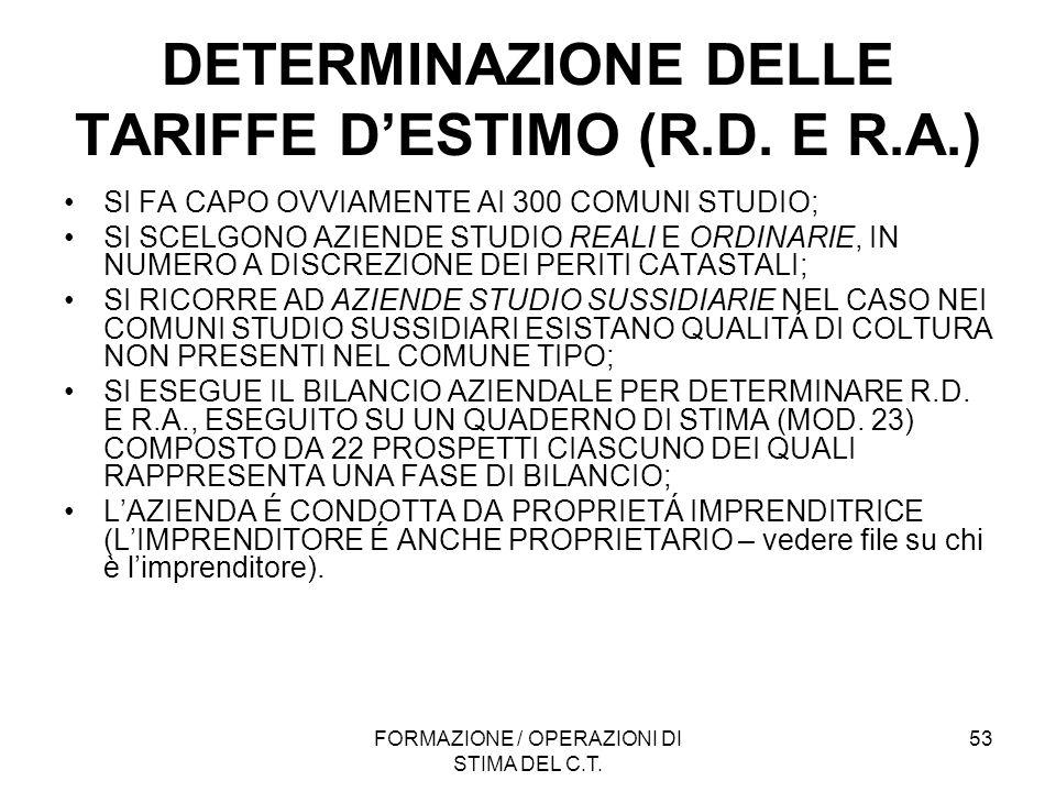 FORMAZIONE / OPERAZIONI DI STIMA DEL C.T. 53 DETERMINAZIONE DELLE TARIFFE DESTIMO (R.D. E R.A.) SI FA CAPO OVVIAMENTE AI 300 COMUNI STUDIO; SI SCELGON