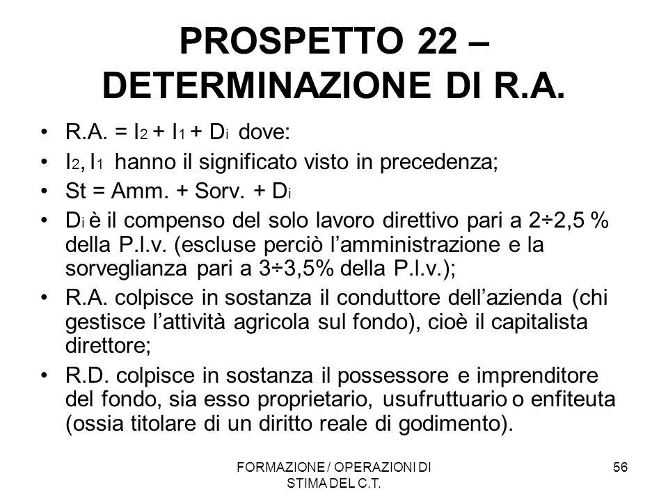 FORMAZIONE / OPERAZIONI DI STIMA DEL C.T. 56 PROSPETTO 22 – DETERMINAZIONE DI R.A. R.A. = I 2 + I 1 + D i dove: I 2, I 1 hanno il significato visto in