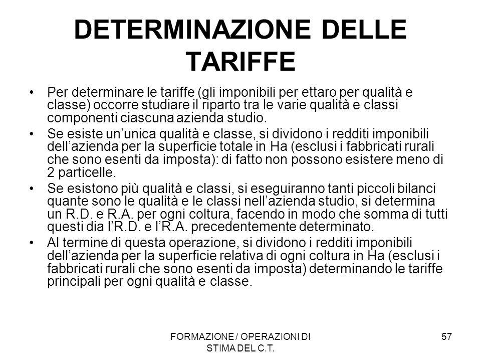 FORMAZIONE / OPERAZIONI DI STIMA DEL C.T. 57 DETERMINAZIONE DELLE TARIFFE Per determinare le tariffe (gli imponibili per ettaro per qualità e classe)