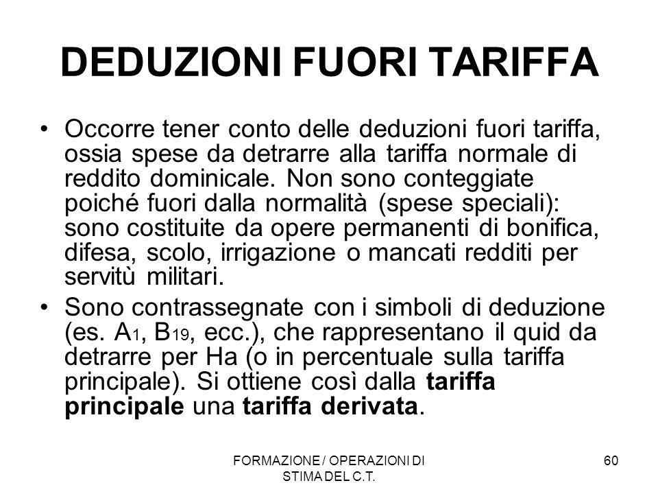 FORMAZIONE / OPERAZIONI DI STIMA DEL C.T. 60 DEDUZIONI FUORI TARIFFA Occorre tener conto delle deduzioni fuori tariffa, ossia spese da detrarre alla t