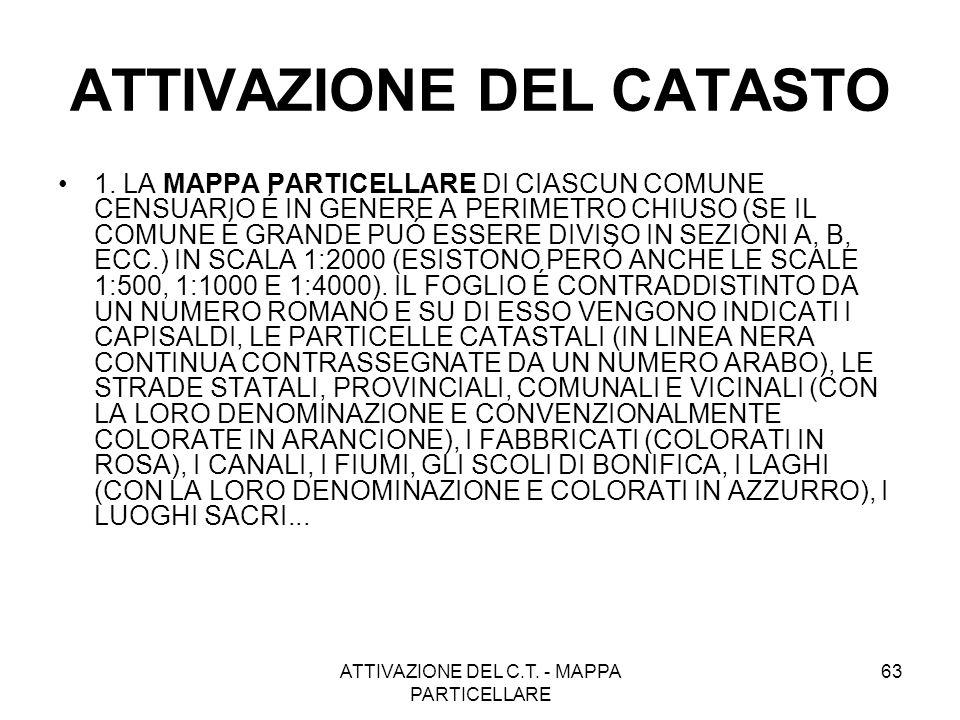 ATTIVAZIONE DEL C.T. - MAPPA PARTICELLARE 63 ATTIVAZIONE DEL CATASTO 1. LA MAPPA PARTICELLARE DI CIASCUN COMUNE CENSUARIO É IN GENERE A PERIMETRO CHIU
