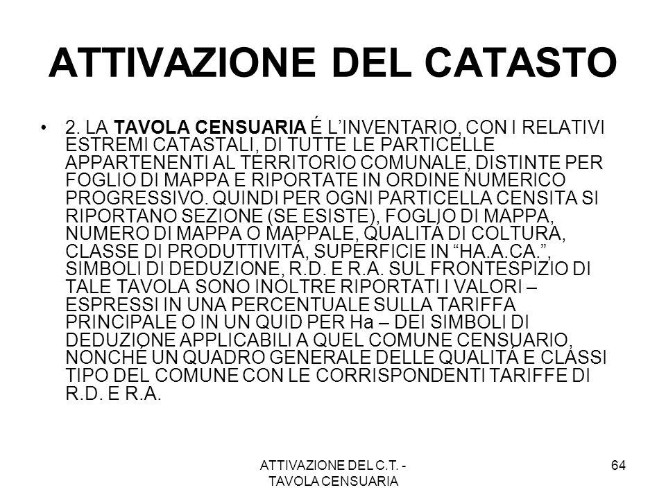 ATTIVAZIONE DEL C.T. - TAVOLA CENSUARIA 64 ATTIVAZIONE DEL CATASTO 2. LA TAVOLA CENSUARIA É LINVENTARIO, CON I RELATIVI ESTREMI CATASTALI, DI TUTTE LE