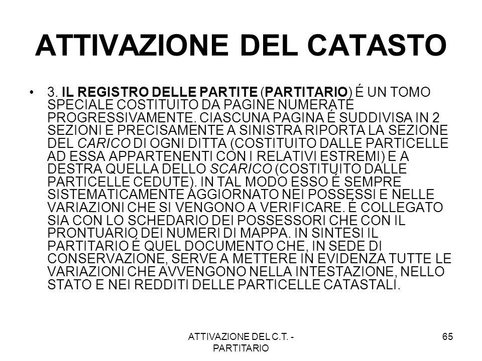ATTIVAZIONE DEL C.T. - PARTITARIO 65 ATTIVAZIONE DEL CATASTO 3. IL REGISTRO DELLE PARTITE (PARTITARIO) É UN TOMO SPECIALE COSTITUITO DA PAGINE NUMERAT
