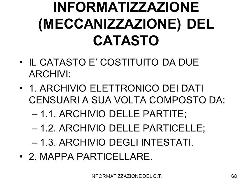 INFORMATIZZAZIONE DEL C.T.68 INFORMATIZZAZIONE (MECCANIZZAZIONE) DEL CATASTO IL CATASTO E COSTITUITO DA DUE ARCHIVI: 1. ARCHIVIO ELETTRONICO DEI DATI