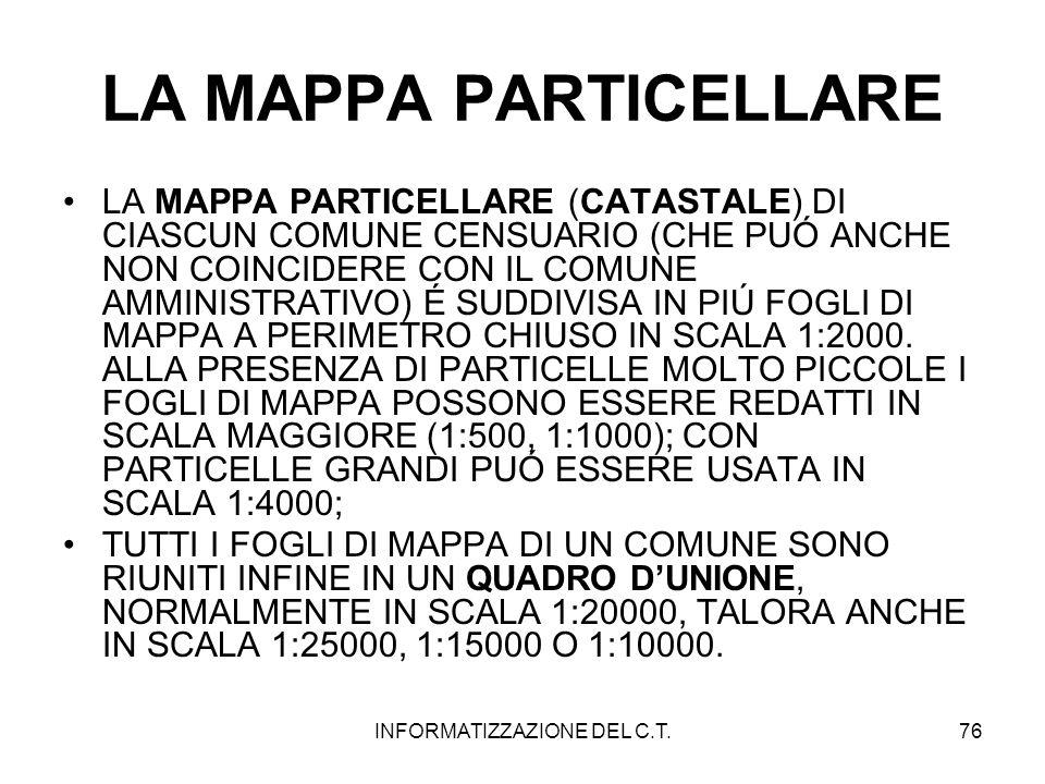 INFORMATIZZAZIONE DEL C.T.76 LA MAPPA PARTICELLARE LA MAPPA PARTICELLARE (CATASTALE) DI CIASCUN COMUNE CENSUARIO (CHE PUÓ ANCHE NON COINCIDERE CON IL
