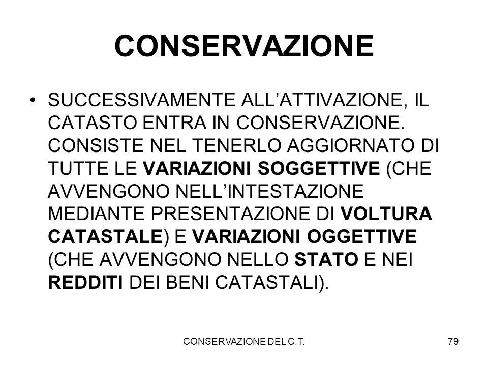 CONSERVAZIONE DEL C.T.79 CONSERVAZIONE SUCCESSIVAMENTE ALLATTIVAZIONE, IL CATASTO ENTRA IN CONSERVAZIONE. CONSISTE NEL TENERLO AGGIORNATO DI TUTTE LE