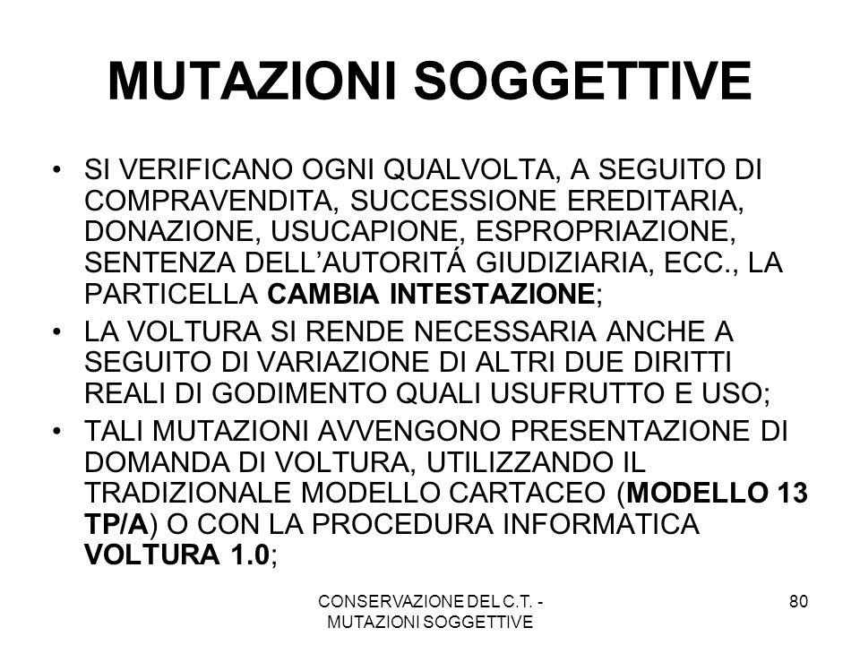 CONSERVAZIONE DEL C.T. - MUTAZIONI SOGGETTIVE 80 MUTAZIONI SOGGETTIVE SI VERIFICANO OGNI QUALVOLTA, A SEGUITO DI COMPRAVENDITA, SUCCESSIONE EREDITARIA