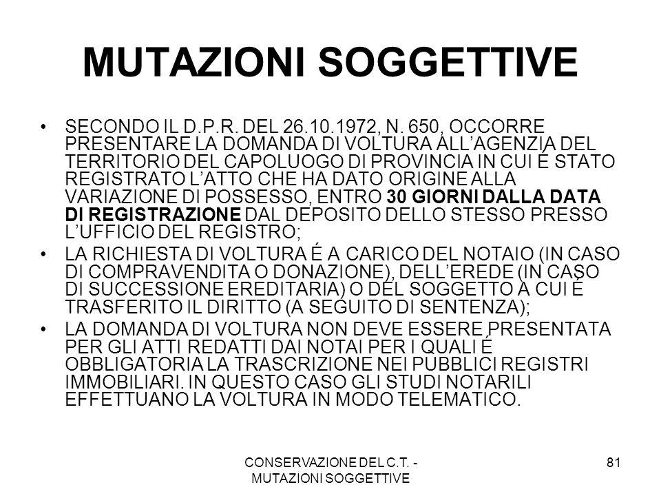 CONSERVAZIONE DEL C.T. - MUTAZIONI SOGGETTIVE 81 MUTAZIONI SOGGETTIVE SECONDO IL D.P.R. DEL 26.10.1972, N. 650, OCCORRE PRESENTARE LA DOMANDA DI VOLTU
