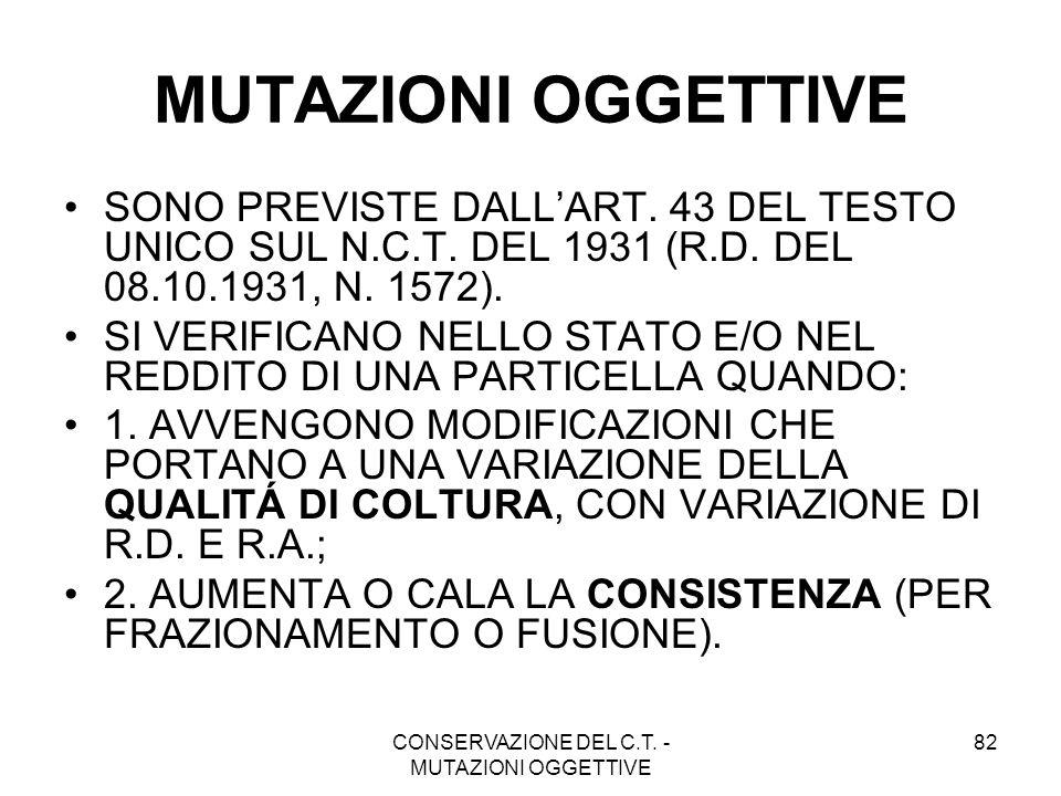 CONSERVAZIONE DEL C.T. - MUTAZIONI OGGETTIVE 82 MUTAZIONI OGGETTIVE SONO PREVISTE DALLART. 43 DEL TESTO UNICO SUL N.C.T. DEL 1931 (R.D. DEL 08.10.1931