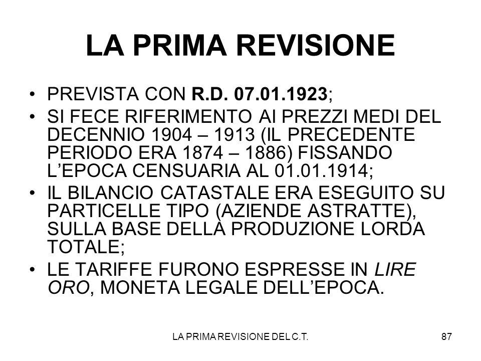 LA PRIMA REVISIONE DEL C.T.87 LA PRIMA REVISIONE PREVISTA CON R.D. 07.01.1923; SI FECE RIFERIMENTO AI PREZZI MEDI DEL DECENNIO 1904 – 1913 (IL PRECEDE