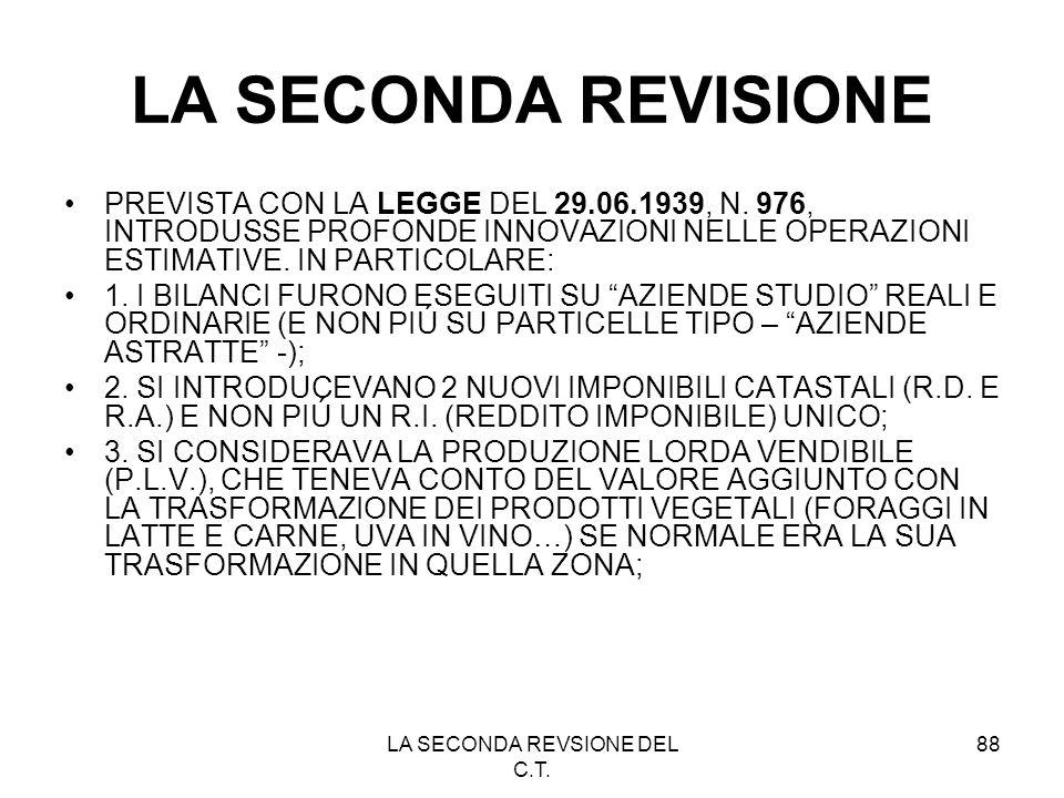 LA SECONDA REVSIONE DEL C.T. 88 LA SECONDA REVISIONE PREVISTA CON LA LEGGE DEL 29.06.1939, N. 976, INTRODUSSE PROFONDE INNOVAZIONI NELLE OPERAZIONI ES