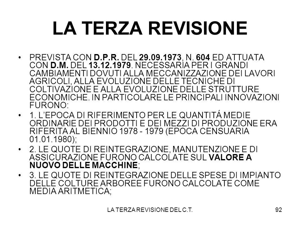 LA TERZA REVISIONE DEL C.T.92 LA TERZA REVISIONE PREVISTA CON D.P.R. DEL 29.09.1973, N. 604 ED ATTUATA CON D.M. DEL 13.12.1979. NECESSARIA PER I GRAND