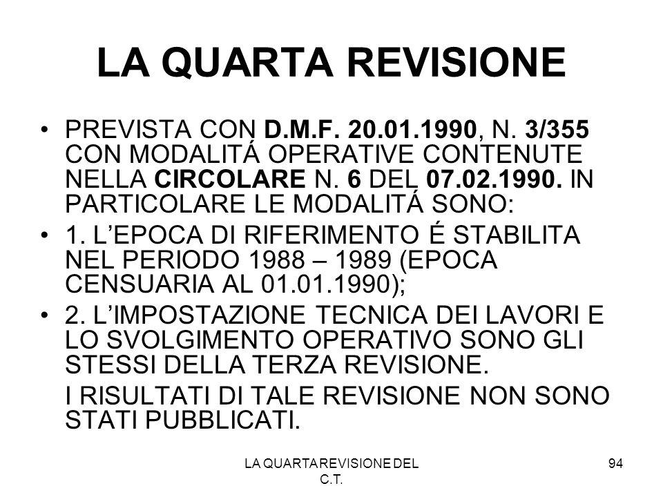 LA QUARTA REVISIONE DEL C.T. 94 LA QUARTA REVISIONE PREVISTA CON D.M.F. 20.01.1990, N. 3/355 CON MODALITÁ OPERATIVE CONTENUTE NELLA CIRCOLARE N. 6 DEL