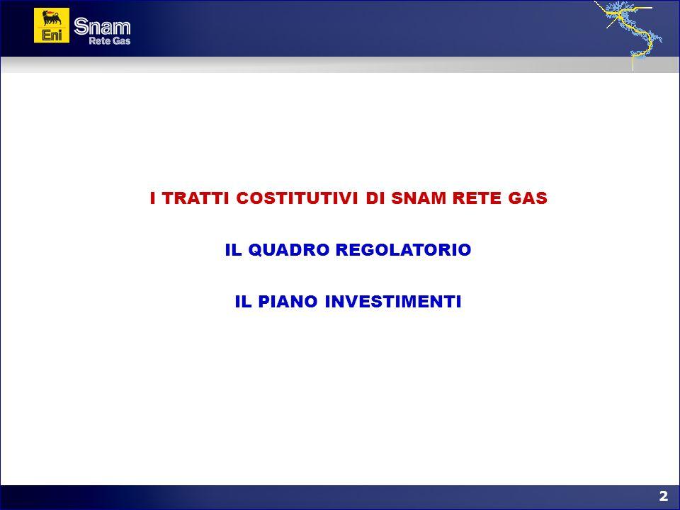 2 2 I TRATTI COSTITUTIVI DI SNAM RETE GAS IL QUADRO REGOLATORIO IL PIANO INVESTIMENTI