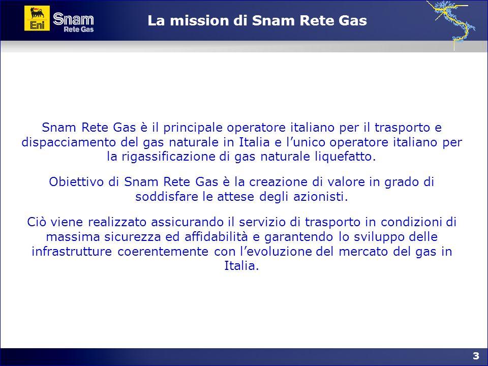 3 3 La mission di Snam Rete Gas Snam Rete Gas è il principale operatore italiano per il trasporto e dispacciamento del gas naturale in Italia e lunico