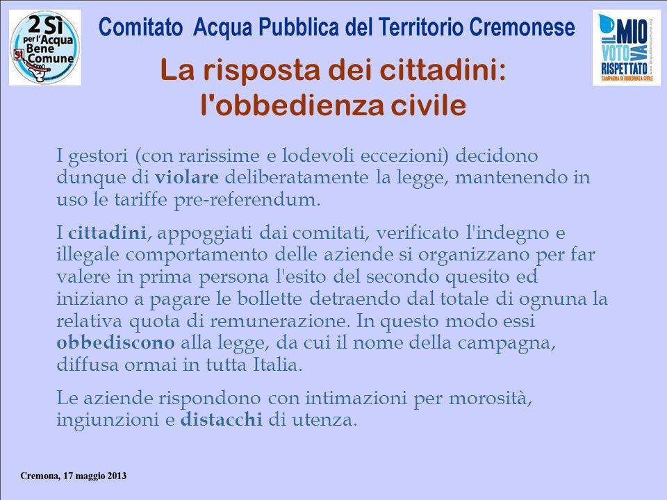 La risposta dei cittadini: l'obbedienza civile I gestori (con rarissime e lodevoli eccezioni) decidono dunque di violare deliberatamente la legge, man