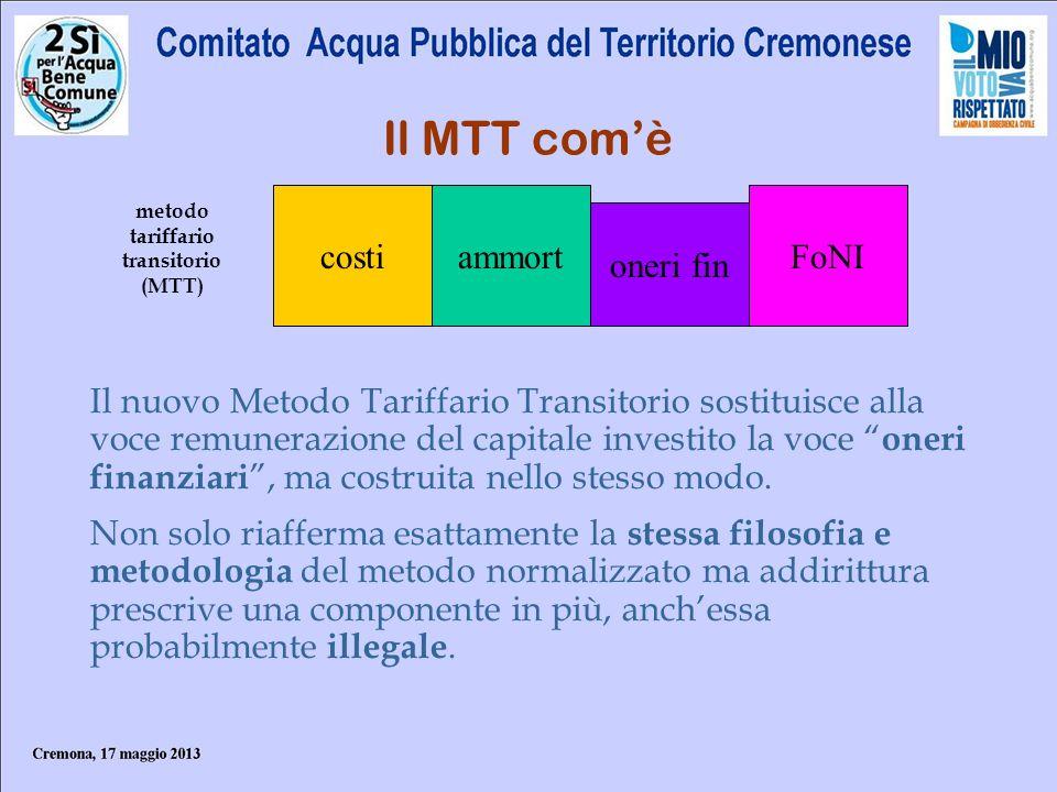 Il MTT comè costiammort oneri fin metodo tariffario transitorio (MTT) FoNI Il nuovo Metodo Tariffario Transitorio sostituisce alla voce remunerazione