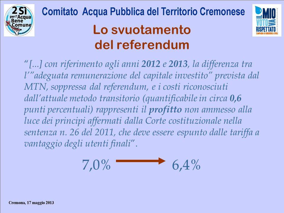 Lo svuotamento del referendum [...] con riferimento agli anni 2012 e 2013, la differenza tra ladeguata remunerazione del capitale investito prevista d