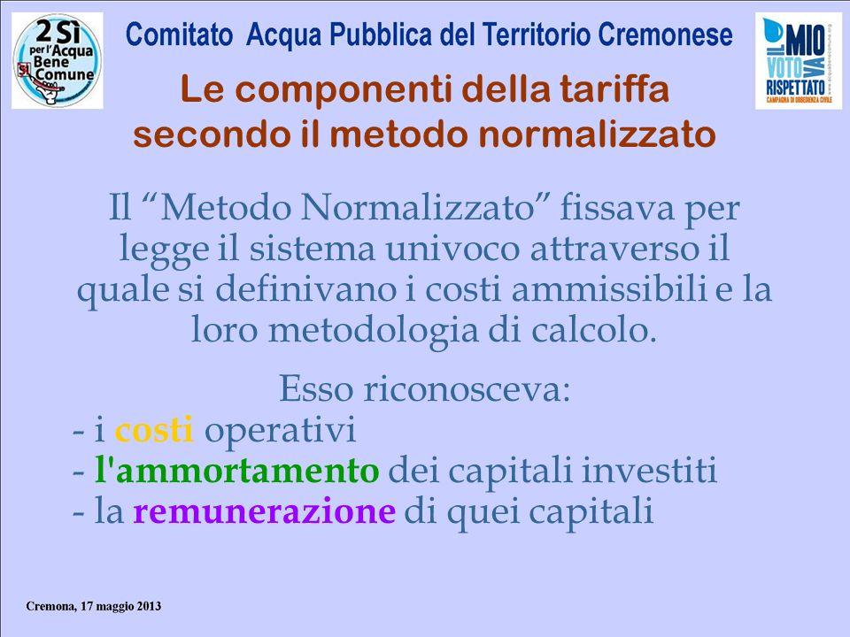 Le componenti della tariffa secondo il metodo normalizzato Il Metodo Normalizzato fissava per legge il sistema univoco attraverso il quale si definiva