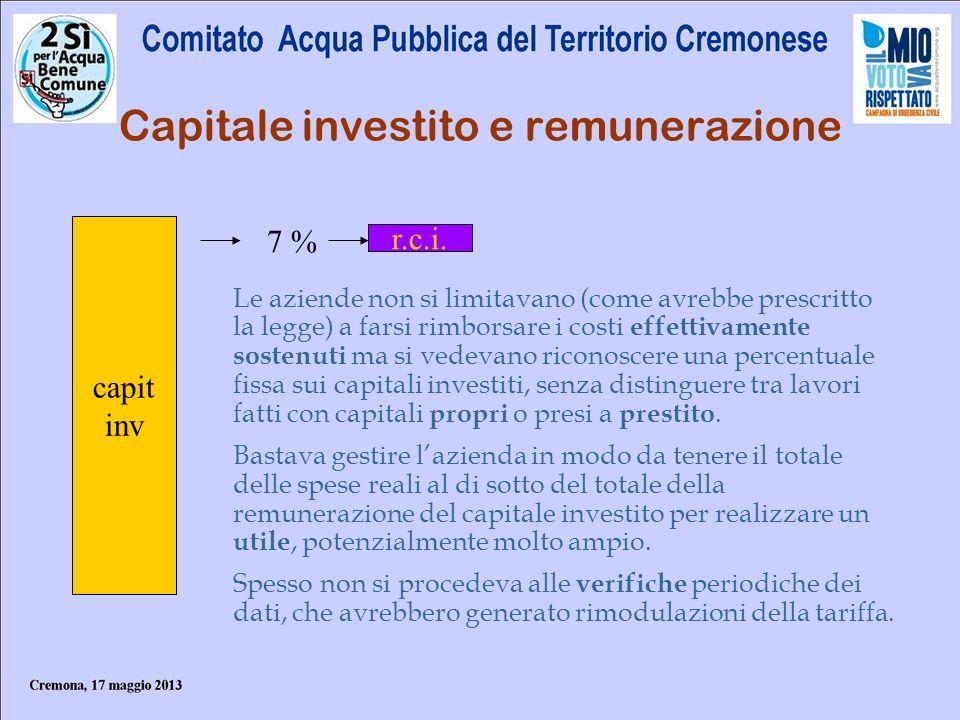 Capitale investito e remunerazione capit inv r.c.i. 7 % Le aziende non si limitavano (come avrebbe prescritto la legge) a farsi rimborsare i costi eff